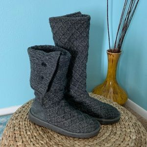 UGG Size 8 Gray Lattice Cardy Knit Tall Boots